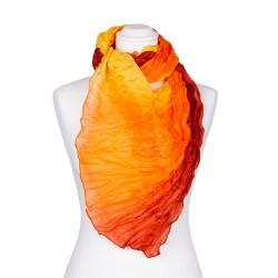Knitterschal XXL gelb orange rot Farbverlauf 100% reine Seide 180x90cm Crinkle