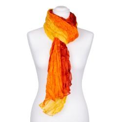 Knitterschal XXL gelb orange rot Farbverlauf 100% reine Seide 180x90cm Crash-Schal