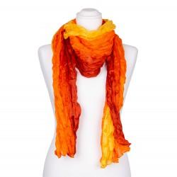 Seidenschal in Knitteroptik mit Farbverlauf gelb orange rot 180x90 cm Damen