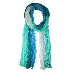 Crinkle-Schal Farbverlauf blautürkis weiß 100% reine Seide