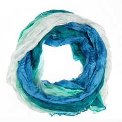 Crinkle-Schal Farbverlauf blautürkis weiß 100% reine Seide Damen