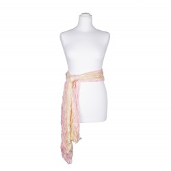 Knitterschal XXL rosa gelb rosé champagner Farbverlauf 100% 180x90cm Seidengürtel