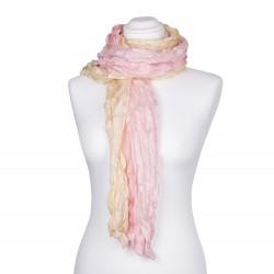 Seidenschal in Knitteroptik mit Farbverlauf champagner rosa gelb 180x90cm