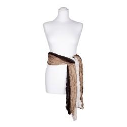 Crash-Schal mit weiß beige braunem Farbverlauf 100% reine Seide 180x90cm Seidengürtel