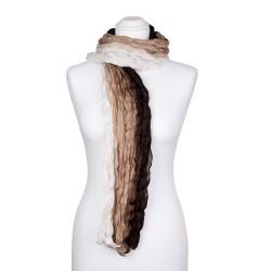Seidenschal mit Knitteroptik mit weiß beige braunem Farbverlauf 100% reine Seide 180x90cm Crinkle