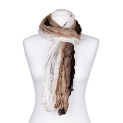 Crinkle-Schal mit weiß beige braunem Farbverlauf 100% reine Seide 180x90cm Damen