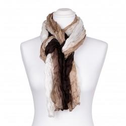 Knitterschal mit weiß beige braunem Farbverlauf 100% reine Seide 180x90cm Crash-Schal