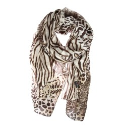Seidenschal braun mit Animal-Print, Leopard, Zebrastreifen, Schlangenmuster
