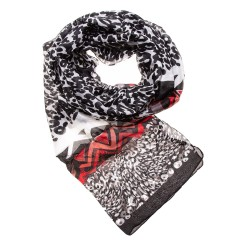 Seidenschal Halstuch Schal Leopard schwarz rot 100% reine Seide