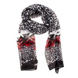 Seidenschal Halstuch Schal Leopard schwarz rot