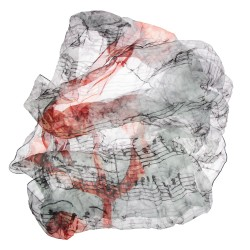 Seidentuch mit Grafikprint Violinschlüssel und Noten in grau, rot, Halstuch aus reiner Seide