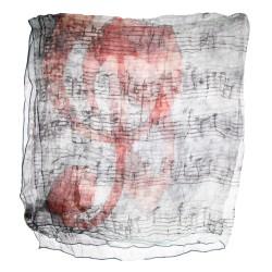 Seidentuch mit Grafikprint Violinschlüssel und Noten in grau, rot, 100% reine Seide