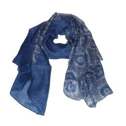 Seidenschal Halstuch Schal hellblau gepunktet Floralprint
