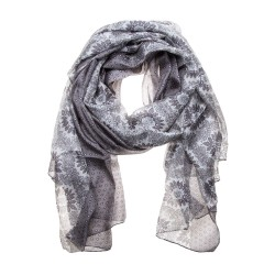 Seidenschal Halstuch Schal grau gepunktet