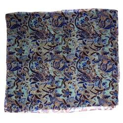 Seidenschal Floralprint blau 100% Seide, kleines Blumenmuster