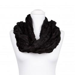 Knitterschal XXL Schwarz 100% reine Seide 180x90cm unifarben