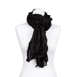 Knitterschal XXL Schwarz 100% reine Seide 180x90cm uni einfabrig