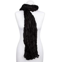 Knitterschal XXL Schwarz 100% reine Seide 180x90cm unifarben einfarbig