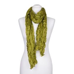 Knitterschal XXL grün olive olivgrün 100% Seide 180x90cm Crash-Schal