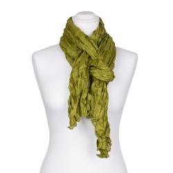 Knitterschal XXL grün olive olivgrün 100% Seide 180x90cm Crinkle