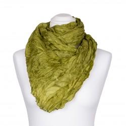 Knitterschal XXL grün olive olivgrün 100% Seide 180x90cm