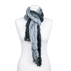 Knitterschal XXL mit Farbverlauf grau anthrazit 100% Seide 180x90cm Crash-Schal