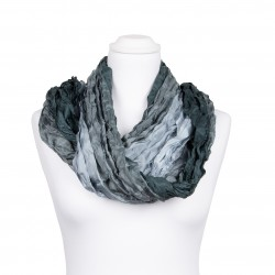 Knitterschal XXL mit Farbverlauf grau anthrazit 100% Seide 180x90cm Crinkle