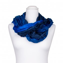 Knitterschal XXL blau dunkelblau royalblau Farbverlauf 100% Seide 180x90cm Crinkle