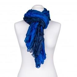 Knitterschal XXL blau dunkelblau royalblau Farbverlauf 100% Seide 180x90cm