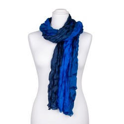 Knitterschal XXL blau dunkelblau royalblau Farbverlauf 100% Seide 180x90cm Damen