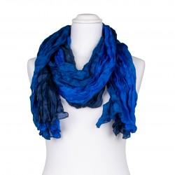 Knitterschal XXL blau dunkelblau royalblau Farbverlauf 100% Seide 180x90cm Crash-Schal