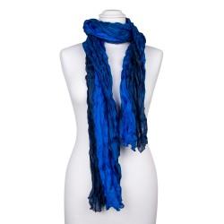 Knitterschal XXL blau dunkelblau Farbverlauf 100% Seide 180x90cm