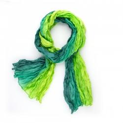 Crinkle-Schal Farbverlauf grün dunkelgrün hellgrün 100% Seide 180x90cm
