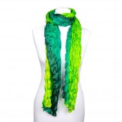 Crinkle-Schal Farbverlauf grün dunkelgrün hellgrün 100% Seide 180x90cm Damen