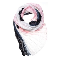 Knitterschal Crinkle-Schal Farbverlauf weiß-grau-perle