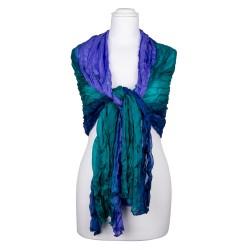 Knitterschal blau grün Farbverlauf 100% reine Seide 180x90cm