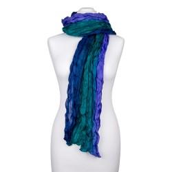 Knitterschal XXL blau grün Farbverlauf 100% reine Seide 180x90cm Damen