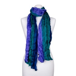 Knitterschal XXL blau grün Farbverlauf 100% reine Seide 180x90cm