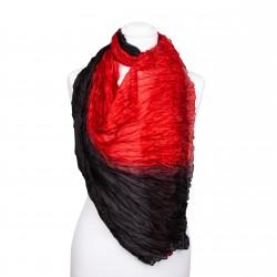 Knitterschal rot, schwarz, 180x90cm, 100% reine Seide, Crinkle, rot-schwarzer Farbverlauf