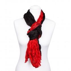 Crinkle-Schal mit rot-schwarzem Farbverlauf, 180x90cm, 100% reine Seide, Knitterseidenschal