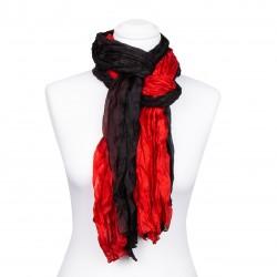 Seidenschal in Knitteroptik, rot, schwarz, 180x90cm, 100% reine Seide, Damen