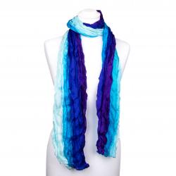 Seidenschal in Knitteroptik mit Farbverlauf blau violett 180x90cm Crinkle 100% reine Seide