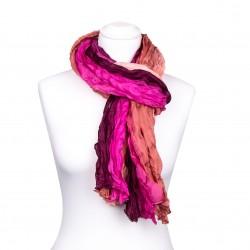 Seidenschal in Knitteroptik, pink, rosa, weinrot, 180x90cm, 100% Seide
