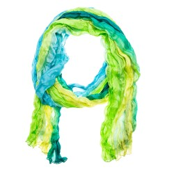 Knitterschal Halstuch Schal XXL Farbverlauf Smaragd grün gelb blau