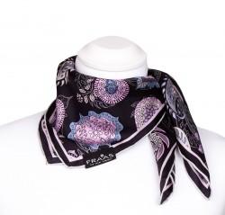 Nickituch aus Seide mit Paisleymuster in schwarz, grau, rosa, 53x53cm