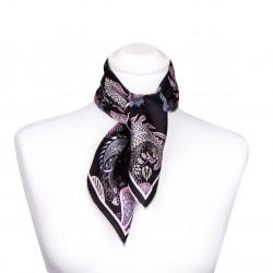Nickituch mit Paisley-Muster. 100% Seide, 53x53cm, schwarz, rosa, blau, grau
