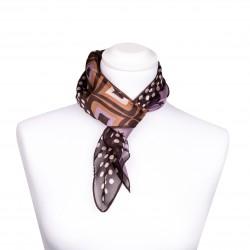 Halstuch aus Seide 68x68cm mit Grafik-Print in verschiedenen Brauntönen 100% reine Seide Damen