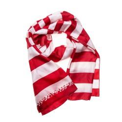 FRAAS Seidentuch Halstuch Schal rot weiß gestreift