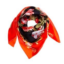 FRAAS Seidentuch Halstuch rot schwarz Floralprint