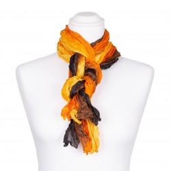 Knitterschal XXL Farbverlauf gelb orange braun schwarz 100% reine Seide 180x90cm Damen